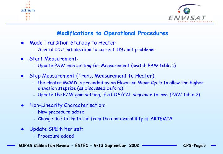Modifications to Operational Procedures