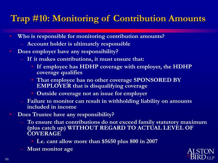 Trap #10: Monitoring of Contribution Amounts