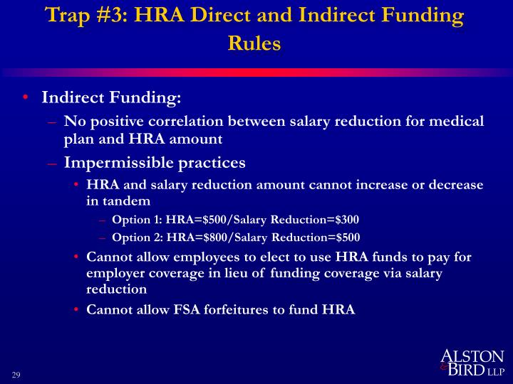 Trap #3: HRA Direct and Indirect Funding Rules