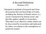 a second definition walsham 1993