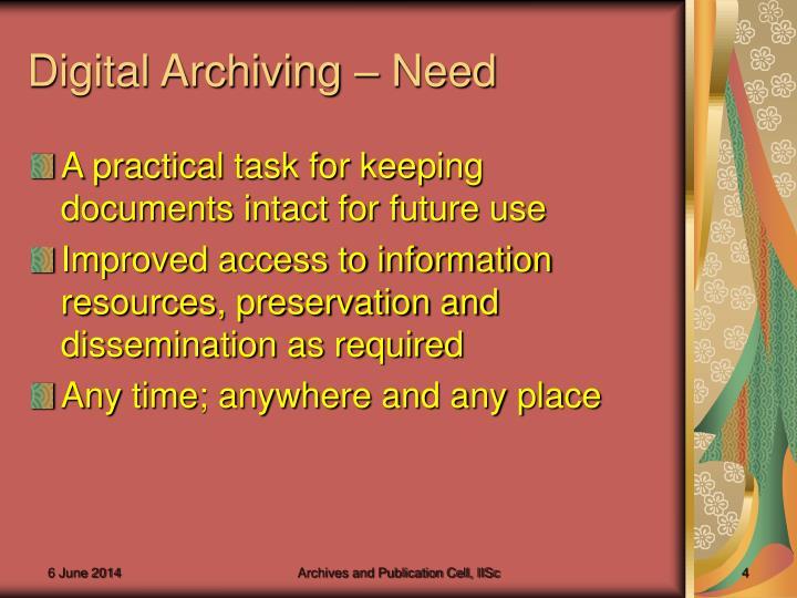 Digital Archiving – Need