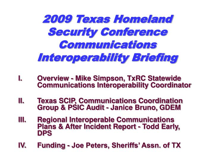 2009 Texas Homeland Security Conference