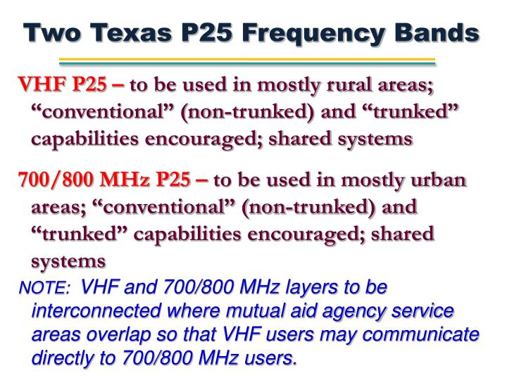 Two Texas P25 Frequency Bands