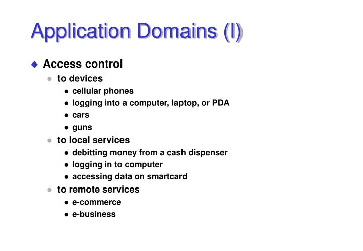 Application Domains (I)