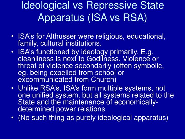 Ideological vs Repressive State Apparatus (ISA vs RSA)