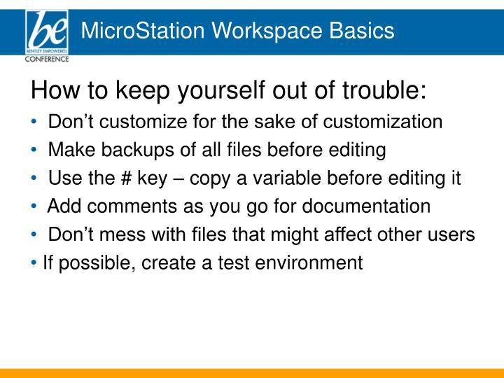 MicroStation Workspace Basics