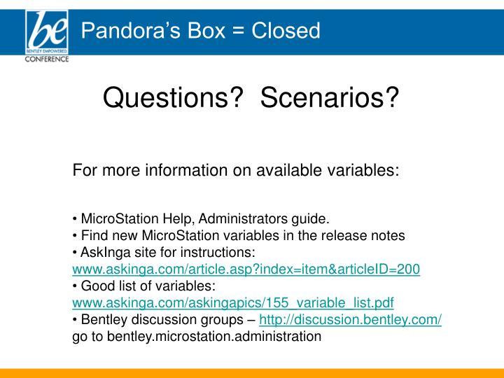 Pandora's Box = Closed