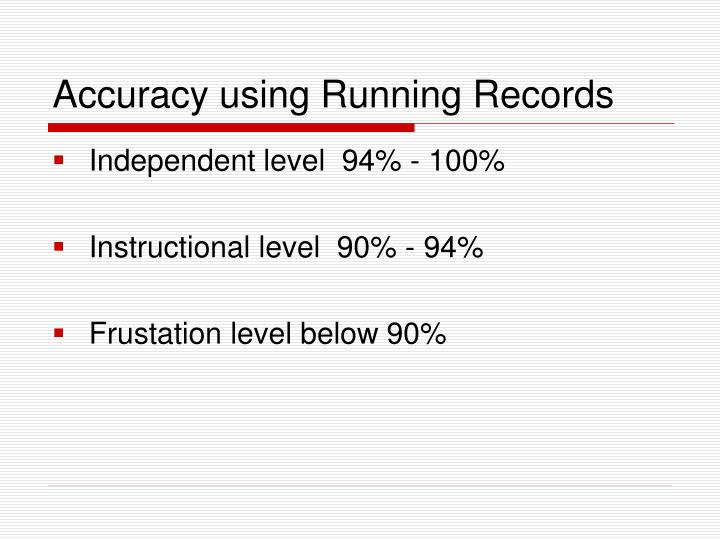 Accuracy using Running Records