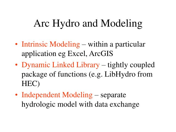 Arc hydro and modeling