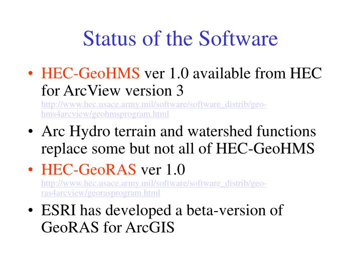 Status of the Software