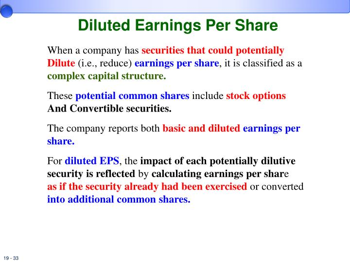 Stock options eps dilution