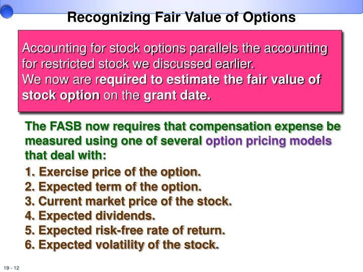 Cost stock options