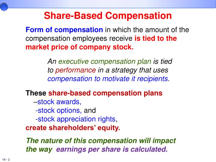 What is executive compensation with stock options