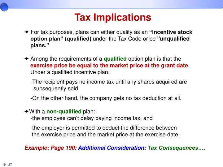 Tax implications of vested stock options