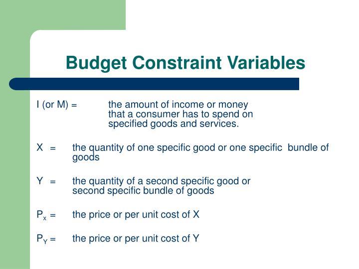 Budget Constraint Variables