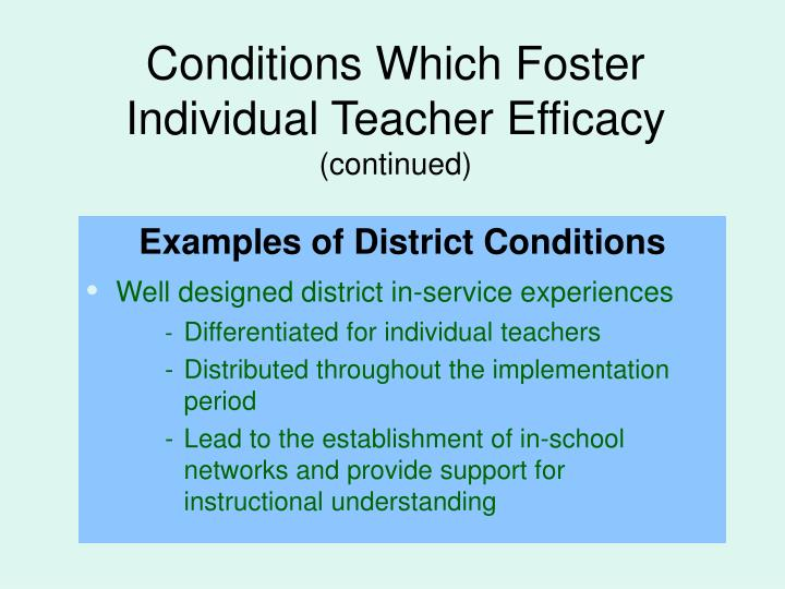 Conditions Which Foster