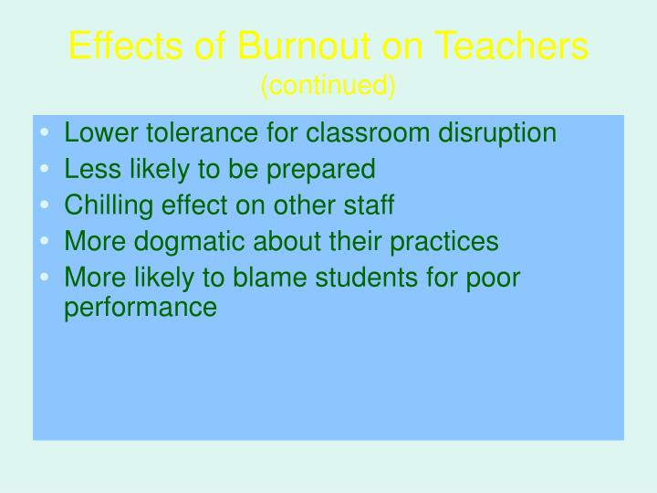 Effects of Burnout on Teachers