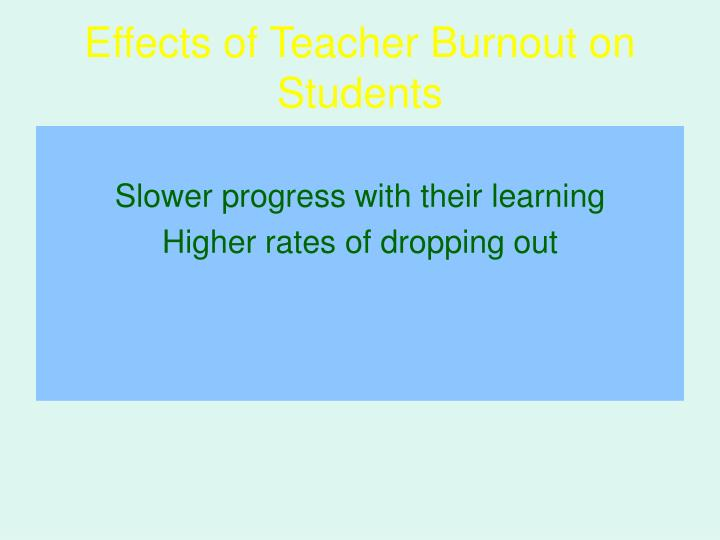 Effects of Teacher Burnout on Students