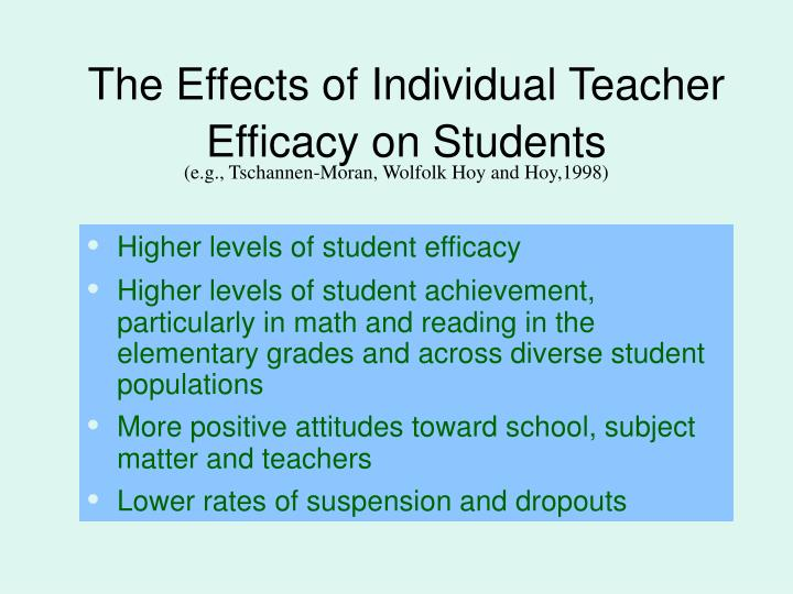 The Effects of Individual Teacher Efficacy on