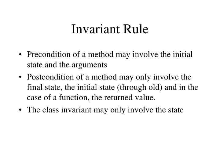 Invariant Rule