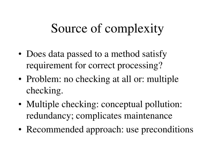 Source of complexity