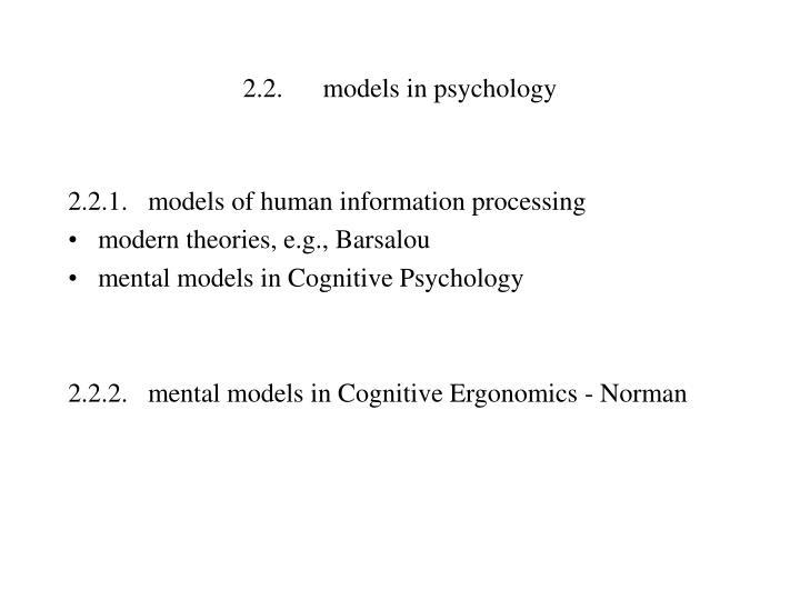 2.2.models in psychology