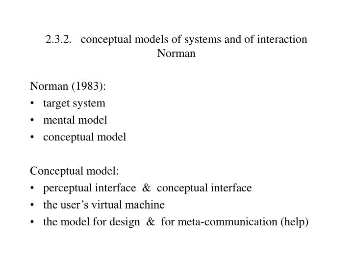 2.3.2.conceptual models of systems and of interaction