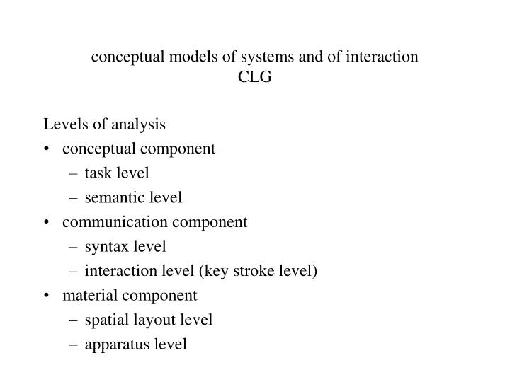 conceptual models of systems and of interaction