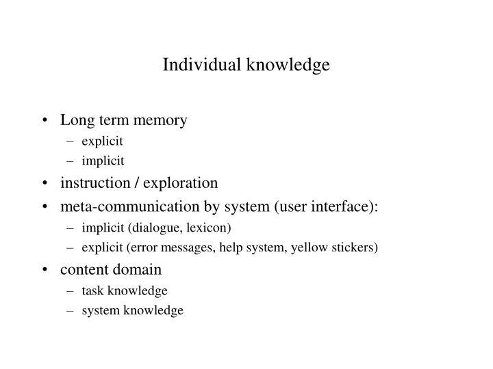 Individual knowledge