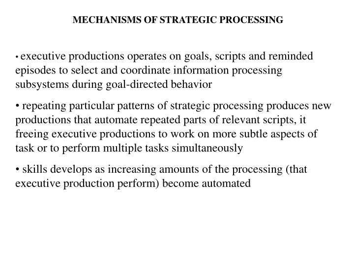 MECHANISMS OF STRATEGIC PROCESSING