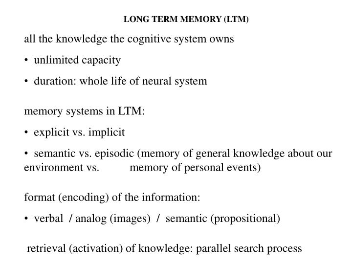LONG TERM MEMORY (LTM)