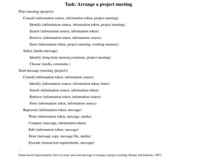 Task: Arrange a project meeting