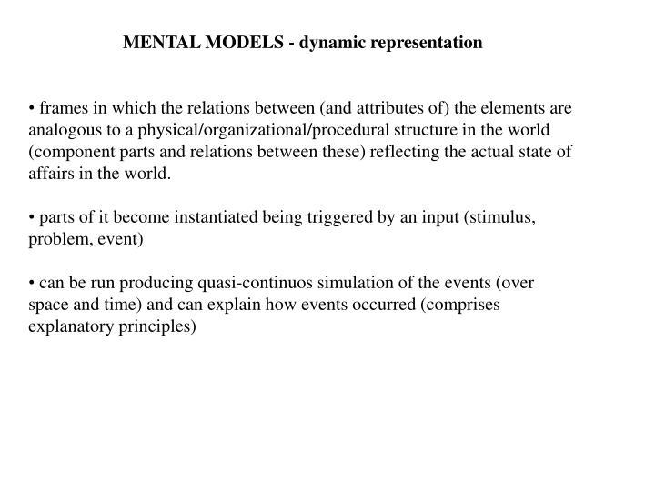 MENTAL MODELS - dynamic representation