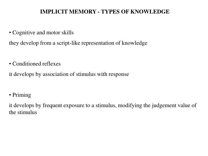 IMPLICIT MEMORY - TYPES OF KNOWLEDGE