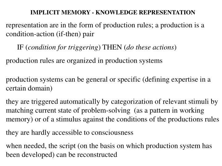 IMPLICIT MEMORY - KNOWLEDGE REPRESENTATION
