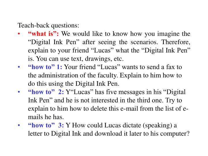 Teach-back questions: