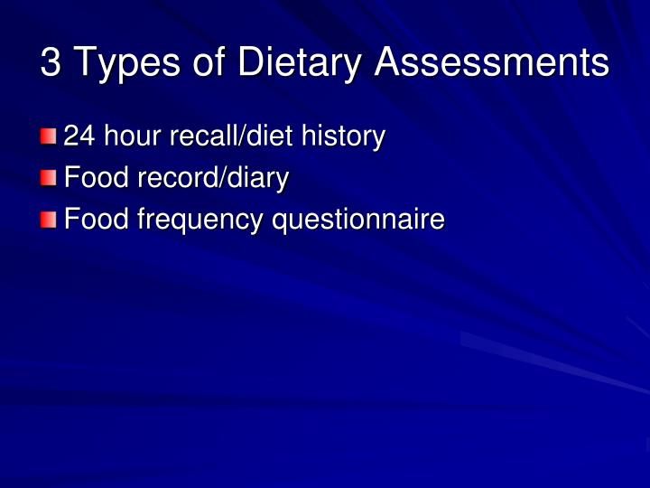 3 Types of Dietary Assessments