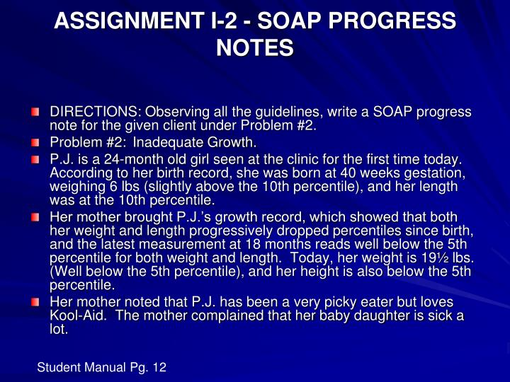 ASSIGNMENT I-2 - SOAP PROGRESS NOTES