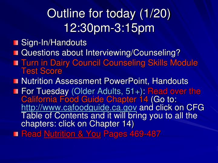 Outline for today 1 20 12 30pm 3 15pm