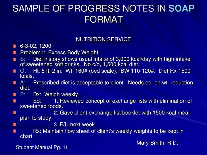 SAMPLE OF PROGRESS NOTES IN