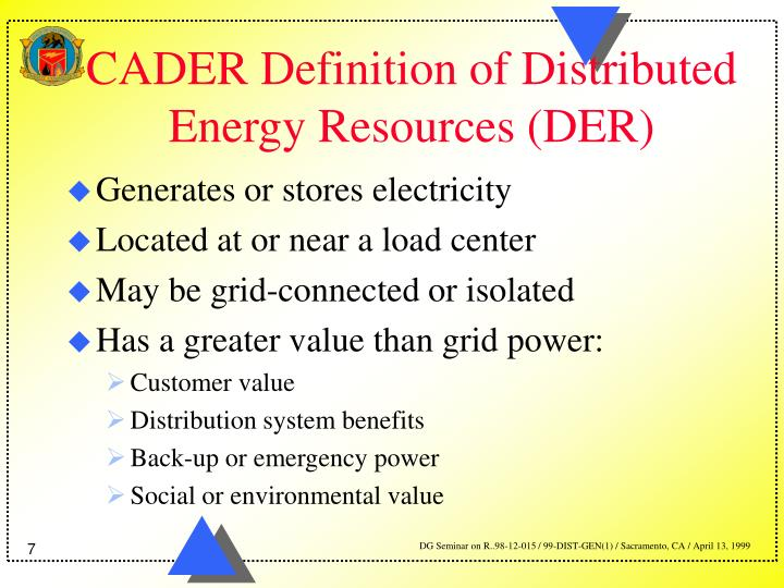CADER Definition of Distributed Energy Resources (DER)