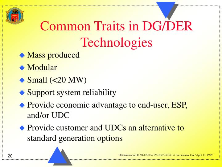 Common Traits in DG/DER Technologies
