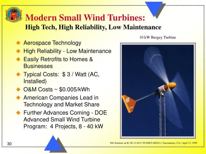 Modern Small Wind Turbines: