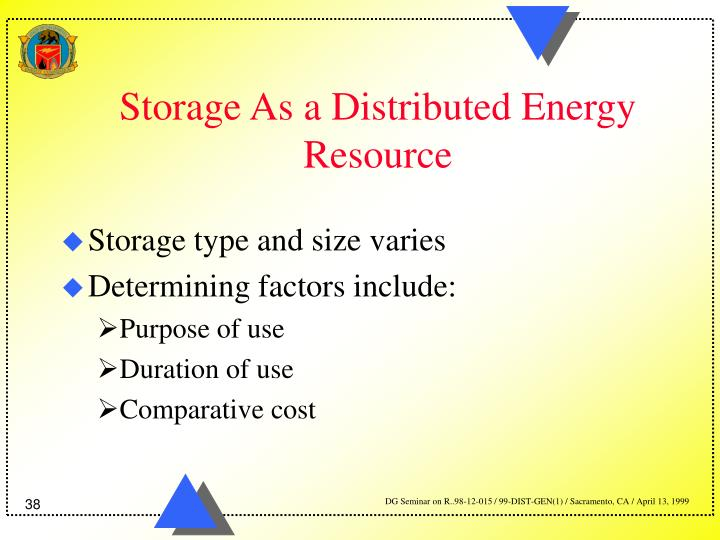 Storage As a Distributed Energy Resource