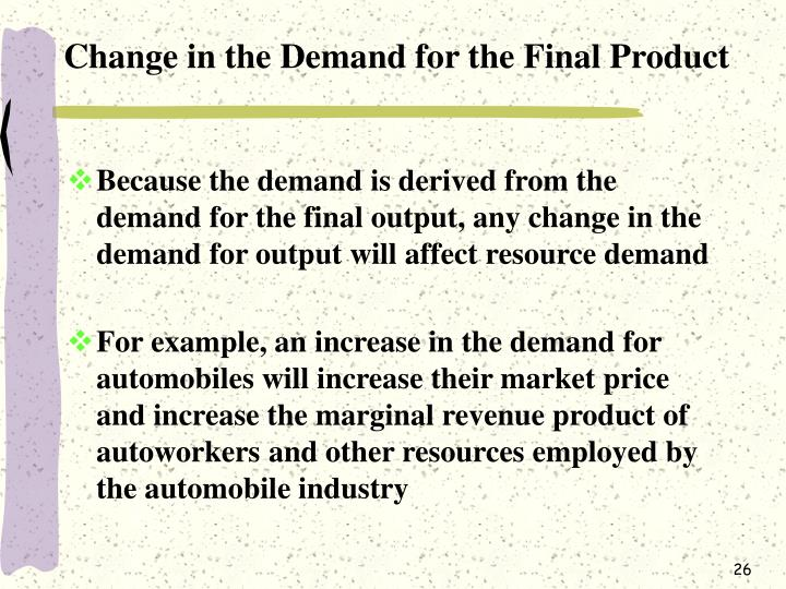 Change in the Demand for the Final Product
