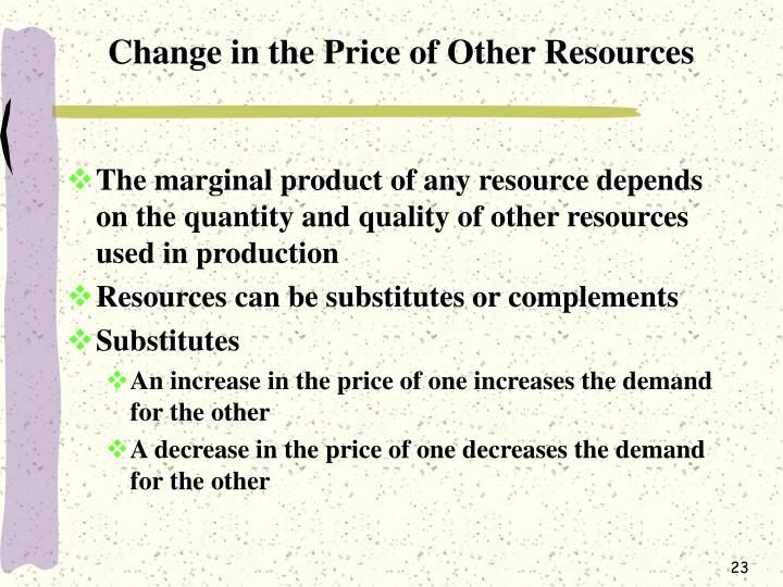 Change in the Price of Other Resources