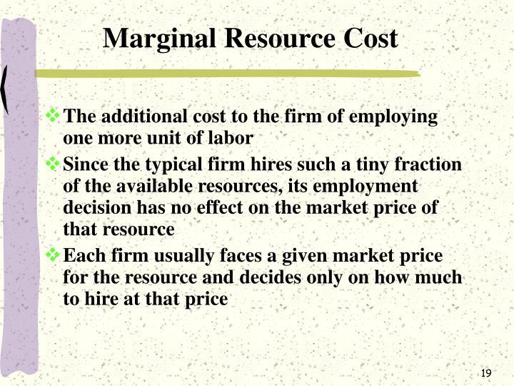 Marginal Resource Cost