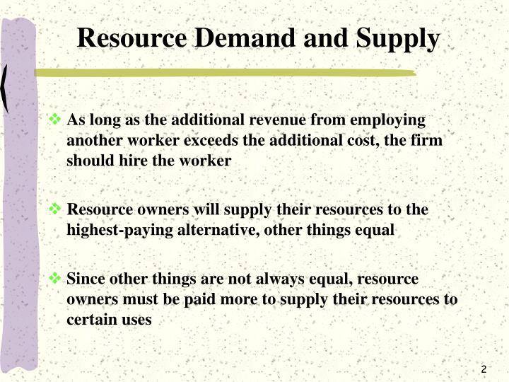 Resource Demand and Supply