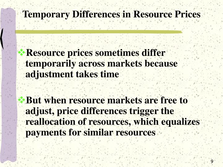 Temporary Differences in Resource Prices
