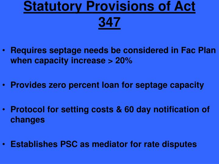 Statutory Provisions of Act 347
